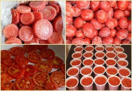 заморозка помидор в разном виде