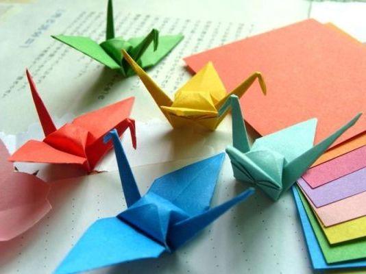 разноцветные журавлики