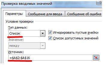 параметры список источники