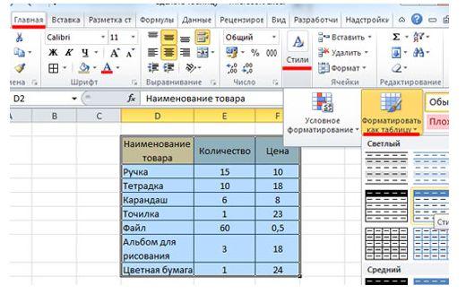 форматировать таблицу
